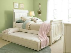 Beautiful sleigh bed with trundle - great space saver!