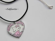 "Necklace ""Pink Hello Kitty Pajamas"" Flower Heart Enamel Pendant - Handmade Jewelry and Beadings by Ziddharta by Ziddharta on Etsy"