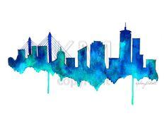 Boston Skyline Watercolor Painting Print   Home by KelseyMDesigns, $25.00