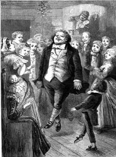 """""""Old Fezziwig, clapping his hands to stop the dance, cried out, 'Well done!'"""" — fourth illustration by E. A. Abbey for Dickens's """"Christmas Stories"""""""