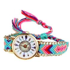 Tribal Feather Figure Knitted Handmade Braided Wristwatches