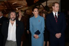 The Duke and Duchess of Cambridge and film director Peter Jackson view an interior exhibition of WWI aircraft during the World War One Aviation Commemorative event at Omaka Aviation Heritage Centre in Blenheim, New Zealand, 10 April 2014.