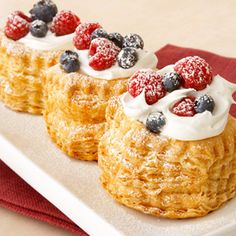 Ingredients  1 pkg. (10 ounces) Pepperidge            Farm® Puff Pastry Shells  1 cup heavy cream  1/3 cup confectioners' sugar  1/4 cup crème fraiche or sour cream  1 1/2 cups assorted berries (raspberries, sliced strawberries, blueberries)