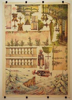 XIV. [Bogen 14, Winterlandschaft / Fürstl. Garten. Münzberg`s Dekorationen für Familientheater für Puppen 18-25 cm]