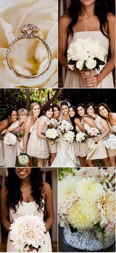 love how each bridesmaid has a different bouquet. great.