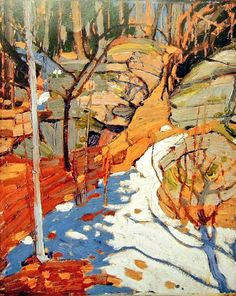 Tom Thomson - Art Nouveau, Arts&Crafts & Post Impressionnism - 'Snow and Rocks' 1916 Group Of Seven Art, Group Of Seven Paintings, Abstract Landscape, Landscape Paintings, Landscape Design, Abstract Trees, Impressionist Landscape, Impressionism, Emily Carr