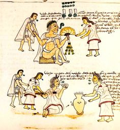 Codex Mendoza - An elderly Aztec woman drinking pulque
