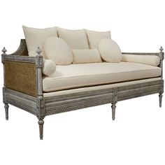 French Cane Sofa Daybed ($6,450) ❤ liked on Polyvore featuring home, furniture, sofas, sofa, pillow back sofa, cane sofa, french day bed, french daybed and cane furniture