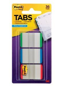 Amazon.com: Post-it Tabs with On-the-Go Dispenser, 1-Inch Lined, Green, Blue, and Red, 12-Tabs/Color, 36-Tabs/Dispenser: Office Products
