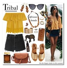 """""""Tribal Outfit"""" by shehanisamara ❤ liked on Polyvore featuring RE/DONE, Madewell, H&M, Fendi, Kaanas, NOVICA, Panacea, Casetify, Pamela Love and Hot Topic"""