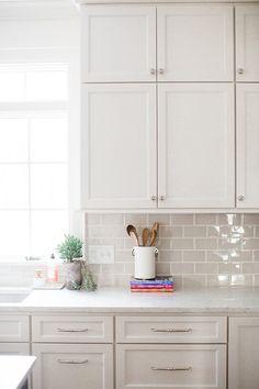 How to Spice Up Your Subway Tile Backsplash - Michaela Noelle Designs Subway Tile Kitchen, White Kitchen Cabinets, Kitchen Redo, Subway Tiles, White Tile Kitchen, White Tile Backsplash Kitchen, Backsplash Kitchen White Cabinets, White Subway Tile Backsplash, Kitchen Makeovers
