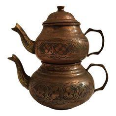 Turkish Cast Brass & Hand-Sponged Copper Tea Pots - A Pair Pumpkin Tea, Turkish Tea, Glass Teapot, Tea Sets Vintage, Tea Pot Set, Ceramic Teapots, Chinese Tea, Tea Service, It Cast