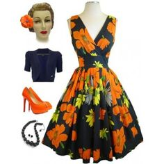 50s Style Pinup Navy Poppy Floral Dress This dress is rad.