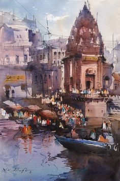 'Varanasi ghats' watercolor painting by Nitin Singh, India. Landscape Sketch, Watercolor Landscape, Landscape Paintings, Landscape Art, Landscapes, Watercolor Water, Watercolor Artists, Watercolor Paintings, Abstract Paintings
