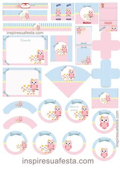 at home party ideas Printable Labels, Printable Stickers, Party Printables, Planner Stickers, Free Printables, Diy And Crafts, Paper Crafts, Baby Owls, Printing Labels
