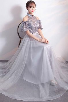 Gray tulle lace applique long prom dress, gray bridesmaid dress, Customized service and Rush order are available