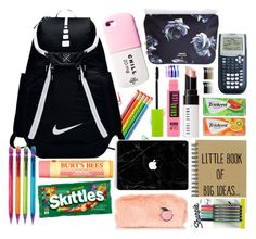 """""""What's In My Backpack ?"""" by meinersk45195 ❤ liked on Polyvore featuring NIKE, Burt's Bees, Bobbi Brown Cosmetics, Valfré, Kate Spade, Maybelline and Emi-Jay"""
