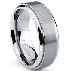 Oliveti Men's Brushed Titanium Beveled Edge Comfort Fit Band (8mm) | Overstock.com Shopping - The Best Deals on Men's Rings