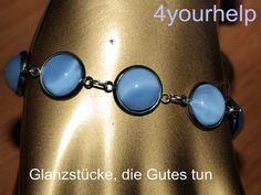 Modulperlenarmbänder - zartes Armband mit hellblauen Cateye-Cabochons - ein Designerstück von 4yourhelp bei DaWanda