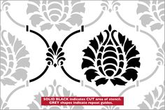 Damask No 2 Repeat stencil from The Stencil Library BUDGET STENCILS range. Buy stencils online. Stencil code CS27R.