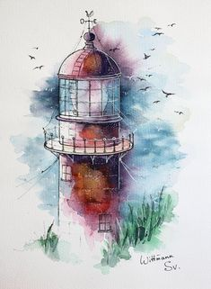 Lighthouse Original watercolour painting on aquaell paper cm. Watercolour by Svetlana Wittmann Easy Watercolor, Watercolor Artwork, Watercolor Paper, Watercolor Flowers, Boat Drawing, Lighthouse Painting, Watercolor Architecture, Learn Art, Stone Painting