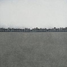 Intermission 2 - Archival 8x8 Fine Art Print - Minimalist Winter Landscape Painting, Trees - by Natasha Newton