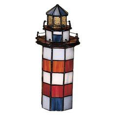 Meyda 10 Inch H X 3 Inch W X 3 Inch D Hilton Head Lighthouse Accent Lamp, Brown copper