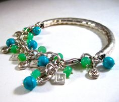 Modern Silver Charm Bracelet Organic Gift For Her Amy by amyfine