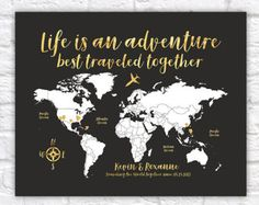 Art canvas print world map art on vintage background brown 3 world map travel poster gold travel map travel quote life sciox Gallery