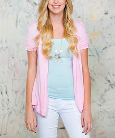 Loving this Pink Tori Short-Sleeve Open Cardigan on #zulily! #zulilyfinds