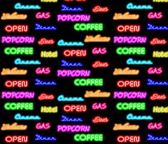 Dean's Neon Signs at Night fabric by midcoast_miscellany on Spoonflower - custom fabric
