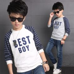 Kids Clothes Boys T-Shirts Sweatshirts 2016 Autumn Long Sleeve Boys Clothing Fashion Letters Striped Casual Boys Tops Pullovers