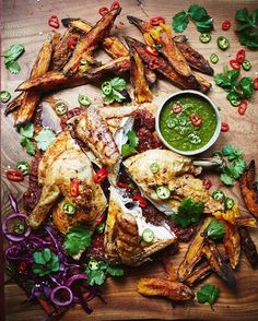 Crisp, spicy Piri Piri chicken, served with jalapeño salsa, piri piri sauce & sweet potato wedges – delicious! Quick easy for dinner tonight. Hit the link in my bio for the recipe guys xx JO X #