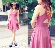 Berry Chiffon Cross Back Dress, New Look Floppy Hat, Blue Pumps