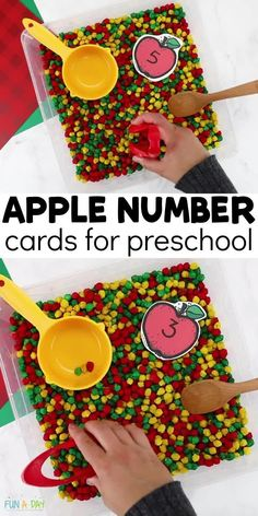 """Snag the free printable for apple number cards! These are great for a fall math center. Pair them with some DIY """"apples"""" to add sensory and fine motor fun! Early Learning Activities, Autumn Activities For Kids, Number Activities, Preschool Lesson Plans, Preschool Activities, Printable Numbers, Free Printable, Enchanted Learning, Fine Motor"""