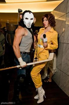 Casey Jones and April O'Neil.  Classic costumes.  Saw this on a facebook Page