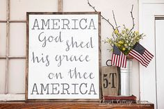 Sale**HAND PAINTED Sign, Wooden With Trim, AMERICA God Shed His Grace, 20 X 24, Inspirational, Patriotic
