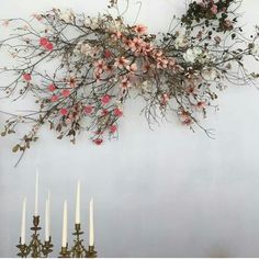 organic floral installation with pink bloom branches Deco Floral, Arte Floral, Dried Flowers, Silk Flowers, Lotus Flowers, Purple Flowers, White Flowers, Floral Wedding, Wedding Flowers