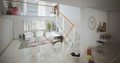 Amei a ideia do Mezanino como sala de TV e embaixo uma sala de jantar