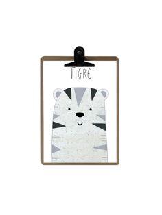 Zeigt weiße Tiger / Wand Dekoration für Kinder / La Roulotte Magique