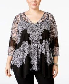 Inc International Concepts Plus Size Lace Handkerchief-Hem Top, Only at Macy's - Black 0X