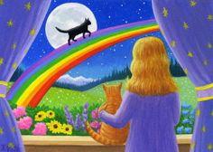Cats Girl Rainbow Bridge Moon Stars Night Fantasy Original ACEO Painting Art | eBay - Sold for $238.50 - star-filled-sky
