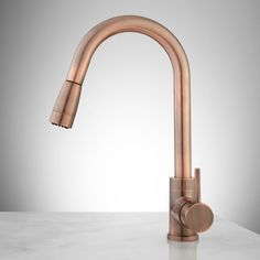 Buy the Signature Hardware 369598 Antique Copper Direct. Shop for the Signature Hardware 369598 Antique Copper Finite Kitchen Faucet with Swivel Spout and Pull-Down Spray and save. Copper Kitchen Faucets, Bathroom Basin Mixer Taps, Copper Faucet, Pull Out Kitchen Faucet, Kitchen Hardware, Kitchen Taps, Kitchen Cabinets, Color Cobre, Kitchen On A Budget