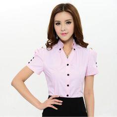 1a3671709040b Aliexpress.com  Comprar Nuevo 2015 verano moda mujeres blusa y camisas de  manga corta para Formal Pink Ladies blusas de trabajo Plus tamaño XXXL  superior ...