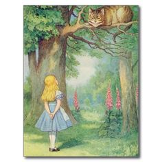 #Post #Cards #Zazzle #shopping #sofiprice Alice and the Cheshire Cat Post Card - http://sofiprice.com/product/alice-and-the-cheshire-cat-post-card-20390190.html