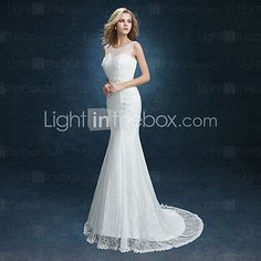 Trumpet / Mermaid Wedding Dress Sweep / Brush Train Scoop Lace with 2016 - $89.99