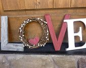 Valentine's Day Decor, Vintage Love Letters, Rustic Holiday Decor, Wood Letters