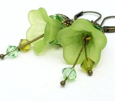 Lime green earrings flower jewelry lucite flower by WickedRuby, $22.00