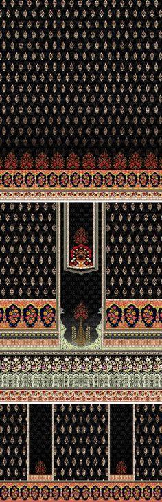 Mughal Art Motif Creating Design Textile Prints, Textile Design, Faraz Manan, Soft Silk Sarees, Design Seeds, Border Design, Pattern Art, Kurti, 3 Piece