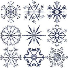 Snowflakes templates with floral ornaments in vector Snowflake Template, Snowflake Designs, Snowflake Pattern, Christmas Art, Christmas Projects, Holiday Crafts, Xmas, Paper Quilling Patterns, Zentangle Patterns
